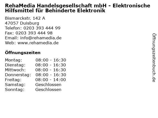 RehaMedia Handelsgesellschaft mbH - Elektronische Hilfsmittel für Behinderte Elektronik in Duisburg: Adresse und Öffnungszeiten