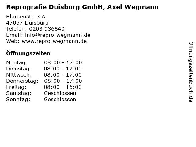 Reprografie Duisburg GmbH, Axel Wegmann in Duisburg: Adresse und Öffnungszeiten