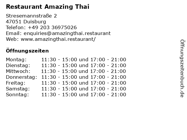 Restaurant Amazing Thai in Duisburg: Adresse und Öffnungszeiten