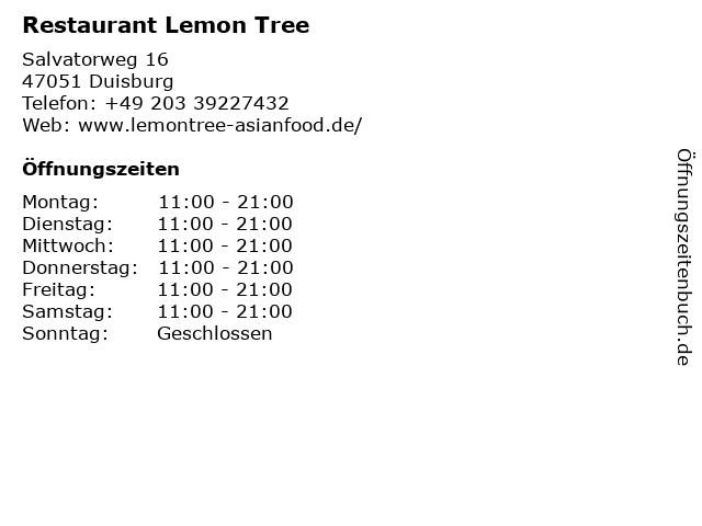 Restaurant Lemon Tree in Duisburg: Adresse und Öffnungszeiten