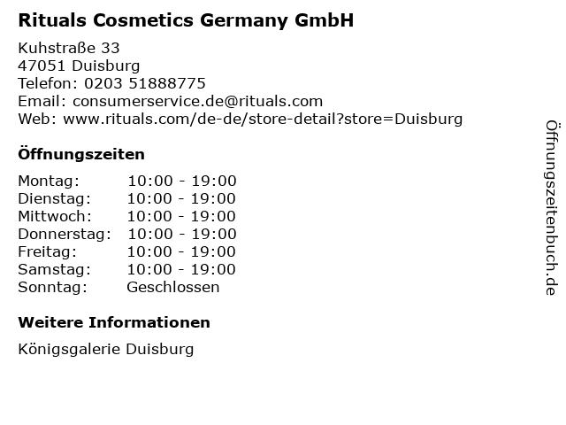 Rituals Cosmetics Germany GmbH in Duisburg: Adresse und Öffnungszeiten