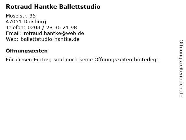Rotraud Hantke Ballettstudio in Duisburg: Adresse und Öffnungszeiten