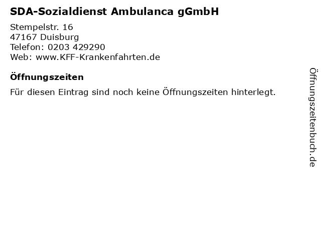 SDA-Sozialdienst Ambulanca gGmbH in Duisburg: Adresse und Öffnungszeiten