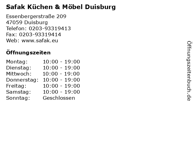 ᐅ öffnungszeiten Safak Küchen Möbel Duisburg