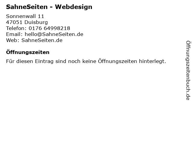 SahneSeiten - Webdesign und Projektmanagement in Duisburg: Adresse und Öffnungszeiten