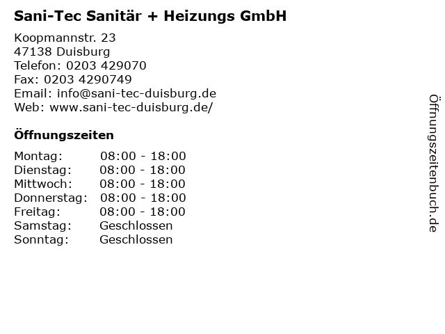 Sani-Tec Sanitär + Heizungs GmbH in Duisburg: Adresse und Öffnungszeiten