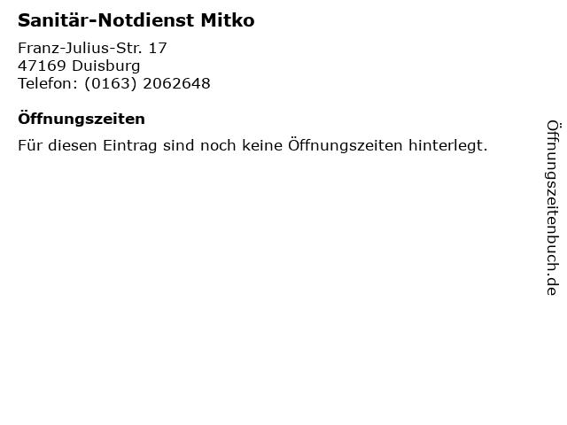 Sanitär-Notdienst Mitko in Duisburg: Adresse und Öffnungszeiten