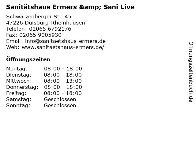 Sanitätshaus Ermers GmbH in Duisburg: Adresse und Öffnungszeiten