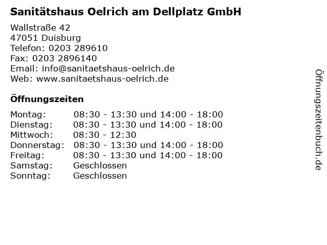 Sanitätshaus Oelrich am Dellplatz GmbH in Duisburg: Adresse und Öffnungszeiten