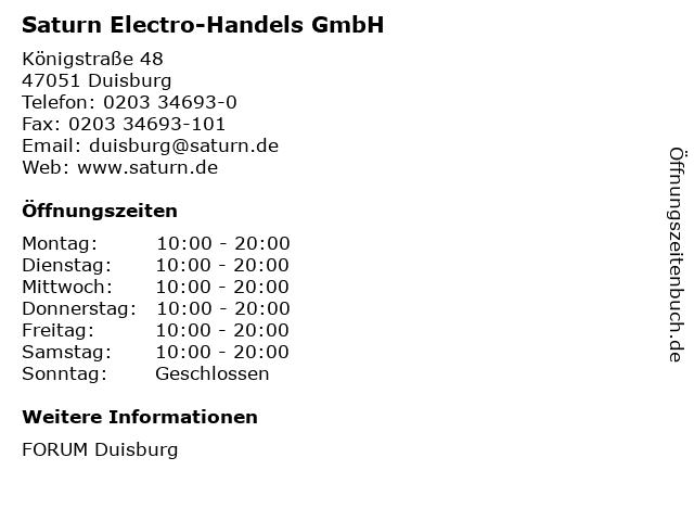 Saturn Electro-Handels GmbH in Duisburg: Adresse und Öffnungszeiten