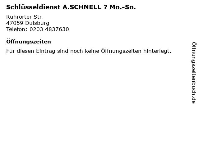 Schlüsseldienst A.SCHNELL ? Mo.-So. in Duisburg: Adresse und Öffnungszeiten