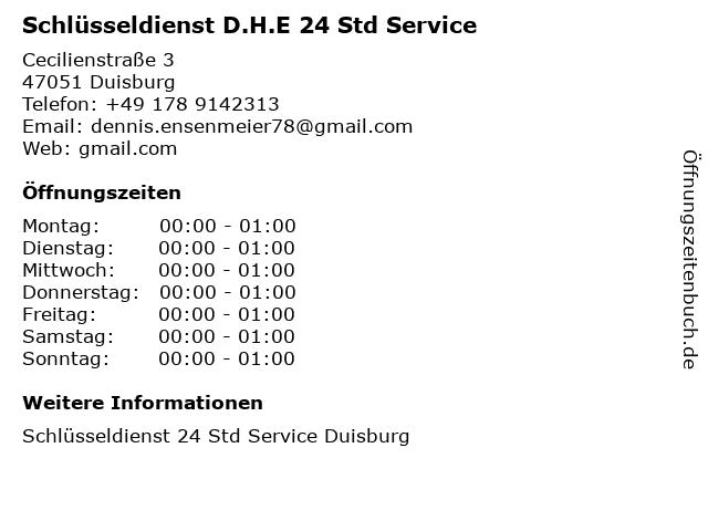Schlüsseldienst D.H.E 24 Std Service in Duisburg: Adresse und Öffnungszeiten