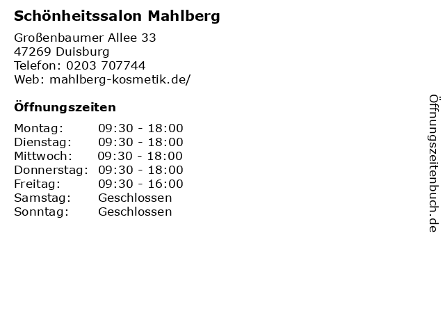 Schönheitssalon Mahlberg in Duisburg: Adresse und Öffnungszeiten