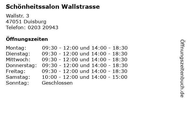 Schönheitssalon Wallstrasse in Duisburg: Adresse und Öffnungszeiten
