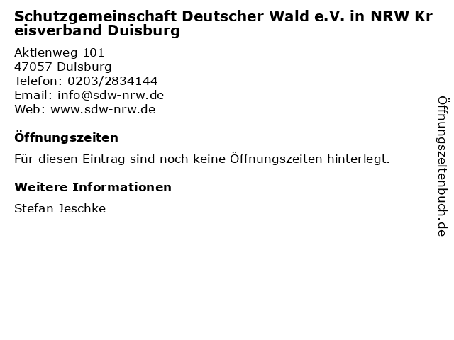 Schutzgemeinschaft Deutscher Wald e.V. in NRW Kreisverband Duisburg in Duisburg: Adresse und Öffnungszeiten