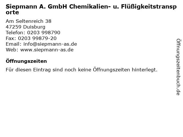 Siepmann A. GmbH Chemikalien- u. Flüßigkeitstransporte in Duisburg: Adresse und Öffnungszeiten