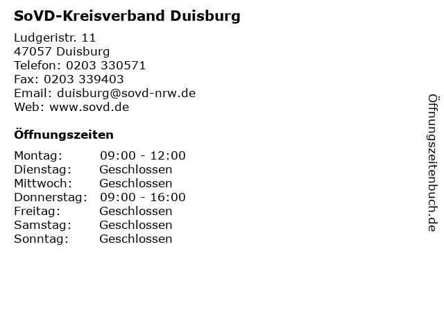 SoVD-Kreisverband Duisburg in Duisburg: Adresse und Öffnungszeiten