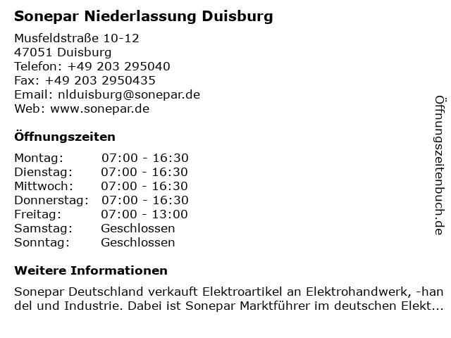 Sonepar Niederlassung Duisburg in Duisburg: Adresse und Öffnungszeiten