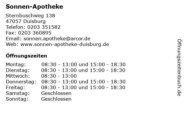 Sonnen-Apotheke in Duisburg: Adresse und Öffnungszeiten