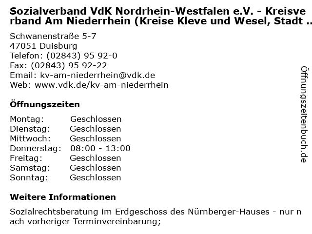 Sozialverband VdK Nordrhein-Westfalen e.V. - Kreisverband Am Niederrhein (Kreise Kleve und Wesel, Stadt Duisburg) in Duisburg: Adresse und Öffnungszeiten
