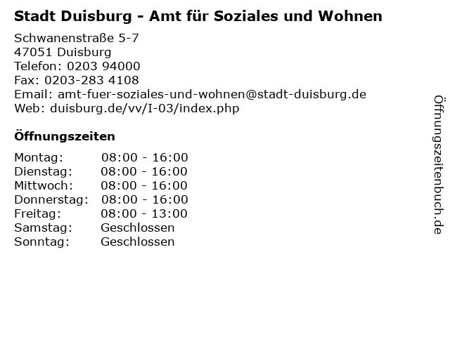 Stadt Duisburg - Amt für Soziales und Wohnen in Duisburg: Adresse und Öffnungszeiten