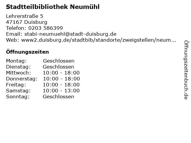 Stadtteilbibliothek Neumühl in Duisburg: Adresse und Öffnungszeiten