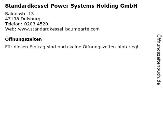 Standardkessel Power Systems Holding GmbH in Duisburg: Adresse und Öffnungszeiten