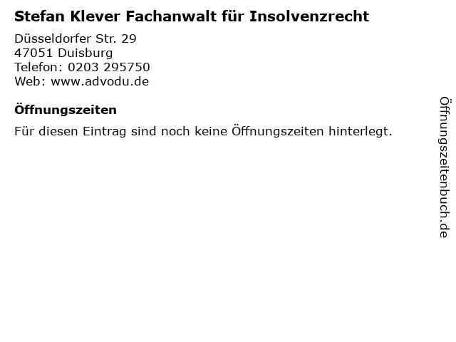 Stefan Klever Fachanwalt für Insolvenzrecht in Duisburg: Adresse und Öffnungszeiten
