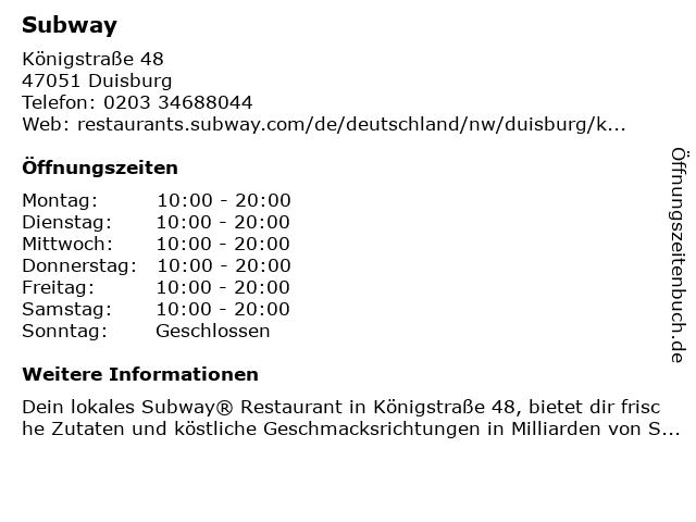 Subway in Duisburg: Adresse und Öffnungszeiten