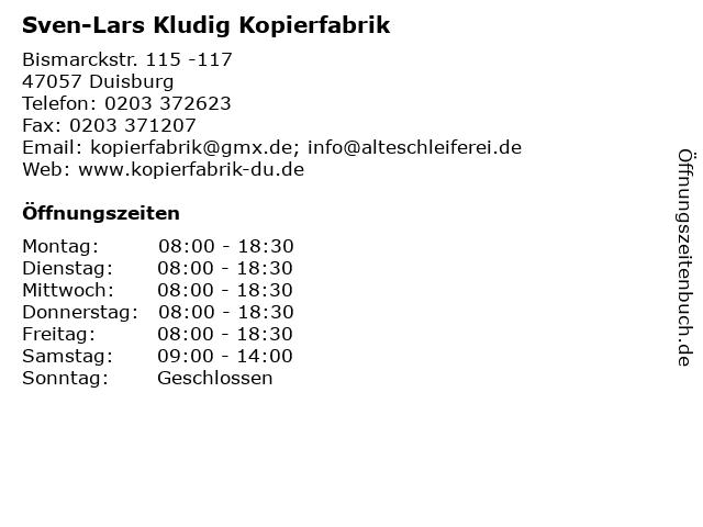Sven-Lars Kludig Kopierfabrik in Duisburg: Adresse und Öffnungszeiten