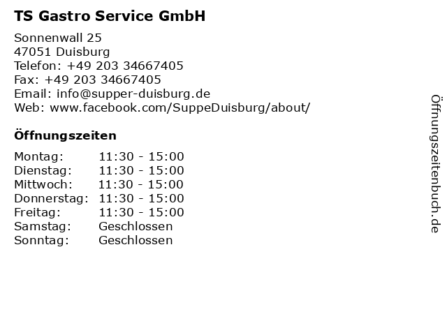TS Gastro Service GmbH in Duisburg: Adresse und Öffnungszeiten