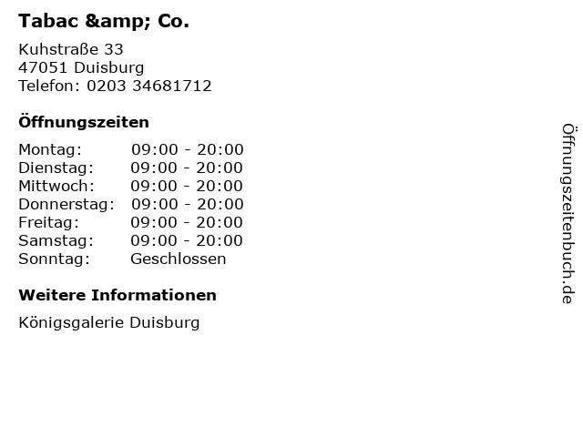 Tabac & Co. in Duisburg: Adresse und Öffnungszeiten