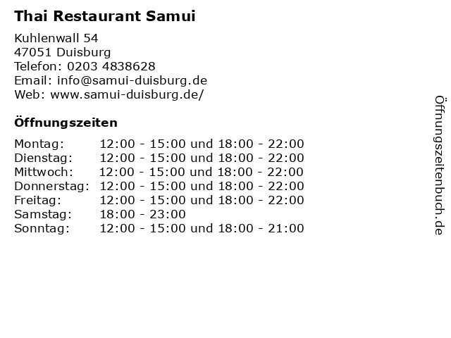 Thai Restaurant Samui in Duisburg: Adresse und Öffnungszeiten