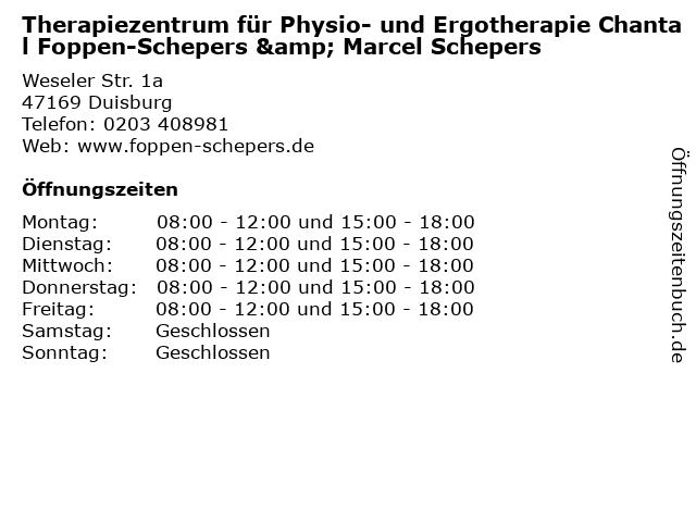 Therapiezentrum für Physio- und Ergotherapie Chantal Foppen-Schepers & Marcel Schepers in Duisburg: Adresse und Öffnungszeiten