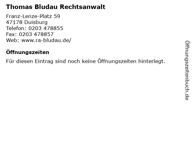 ᐅ öffnungszeiten Thomas Bludau Rechtsanwalt Franz Lenze Platz