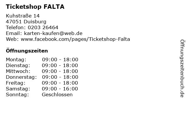 Ticketshop FALTA in Duisburg: Adresse und Öffnungszeiten