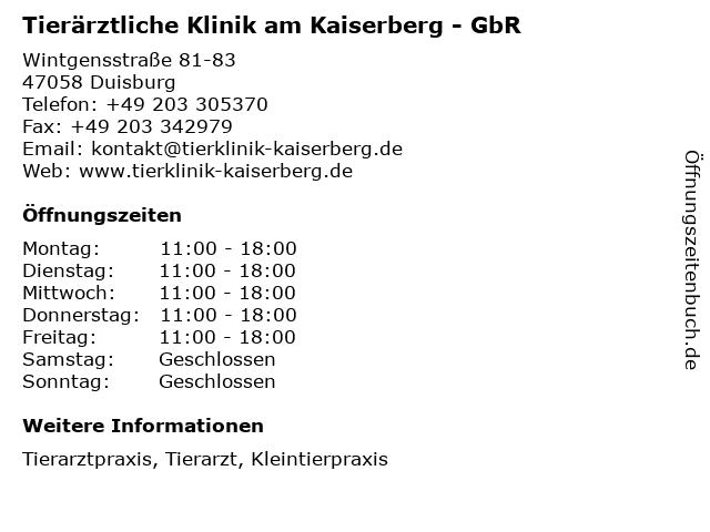 ᐅ öffnungszeiten Tierärztliche Klinik Am Kaiserberg Dr