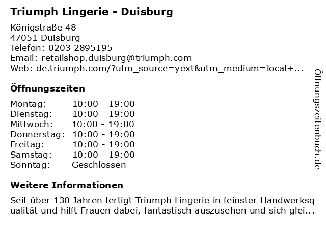 Triumph in Duisburg: Adresse und Öffnungszeiten