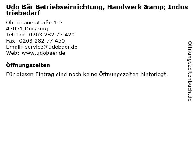 Udo Bär Betriebseinrichtung, Handwerk & Industriebedarf in Duisburg: Adresse und Öffnungszeiten