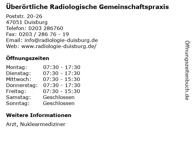 Überörtliche Radiologische Gemeinschaftspraxis in Duisburg: Adresse und Öffnungszeiten