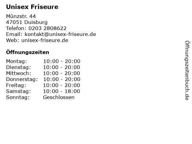 Unisex Friseure in Duisburg: Adresse und Öffnungszeiten