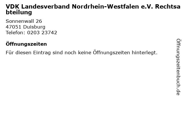 VDK Landesverband Nordrhein-Westfalen e.V. Rechtsabteilung in Duisburg: Adresse und Öffnungszeiten