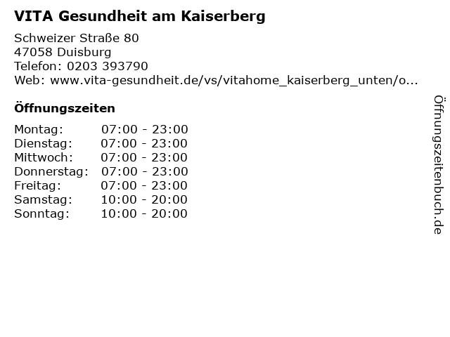VITA Gesundheit am Kaiserberg in Duisburg: Adresse und Öffnungszeiten