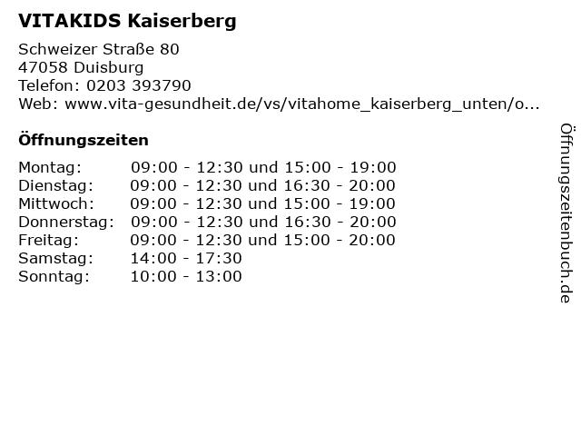 VITAKIDS Kaiserberg in Duisburg: Adresse und Öffnungszeiten