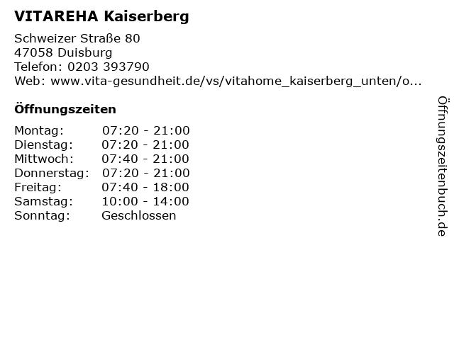 VITAREHA Kaiserberg in Duisburg: Adresse und Öffnungszeiten