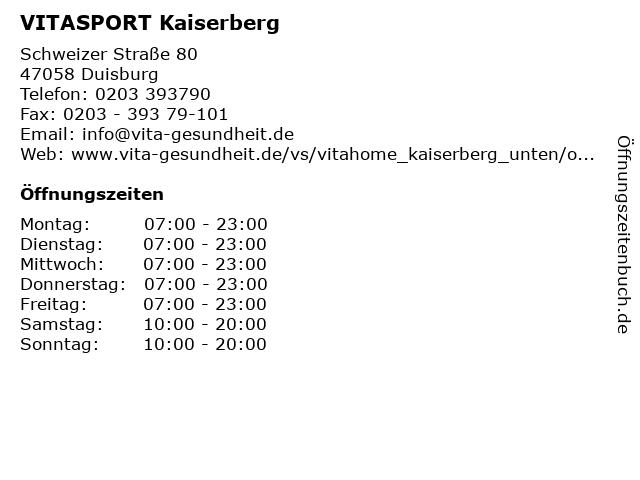 VITASPORT Kaiserberg in Duisburg: Adresse und Öffnungszeiten