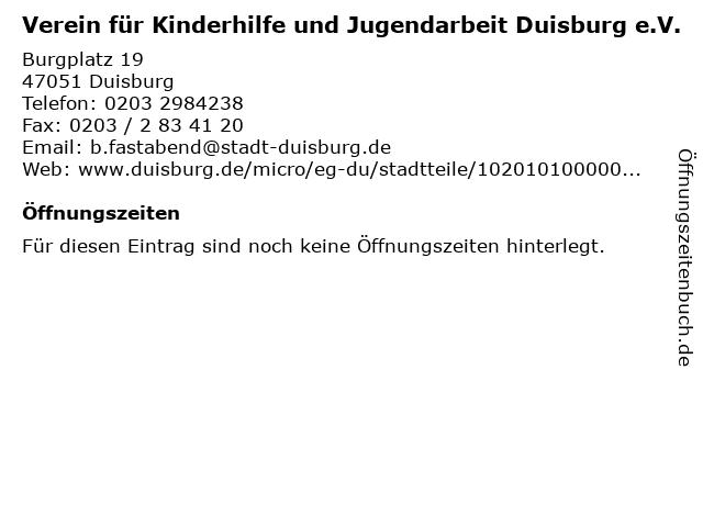 Verein für Kinderhilfe und Jugendarbeit Duisburg e.V. in Duisburg: Adresse und Öffnungszeiten