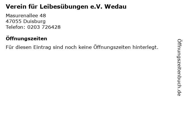 Verein für Leibesübungen e.V. Wedau in Duisburg: Adresse und Öffnungszeiten