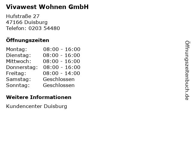 Vivawest Wohnen GmbH in Duisburg: Adresse und Öffnungszeiten
