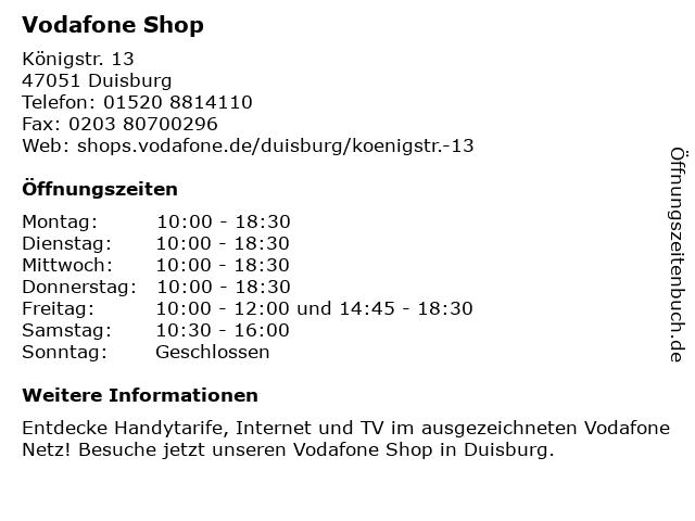 Vodafone Shop in Duisburg: Adresse und Öffnungszeiten
